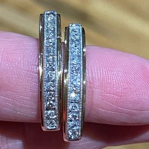 10 KT gold and diamond hoops